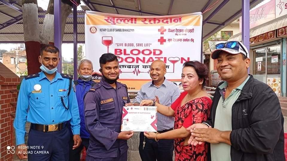 रोटरी क्लब अफ सैंबु भैंसेपाटीको आयोजनामा रक्तदान सम्पन्न