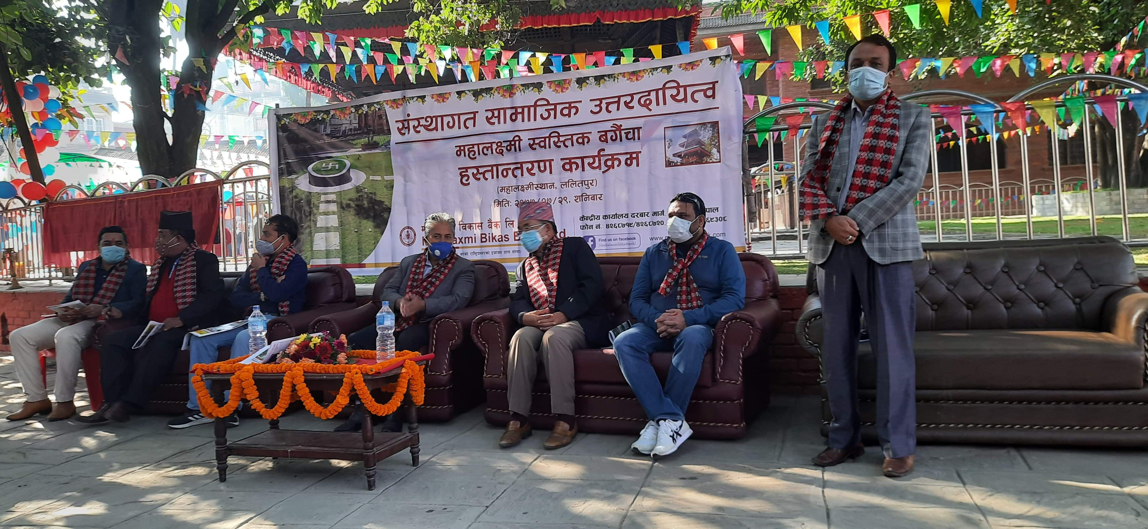 ललितपुर महानगरको महालक्ष्मी मन्दिरमा बगैंचा निर्माण
